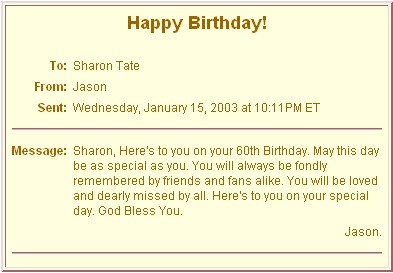The Official Sharon Tate Fansite Sharon S 60th Birthday